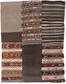 Kelim Patchwork Matto 198X260 Moderni Käsinkudottu Tummanruskea/Vaaleanruskea (Villa, Turkki)