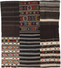 Kilim Patchwork Rug 198X230 Authentic  Modern Handwoven Dark Brown/Light Brown (Wool, Turkey)