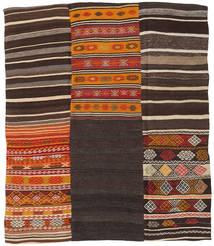 Kilim Patchwork Rug 189X222 Authentic  Modern Handwoven Dark Brown/Dark Red (Wool, Turkey)