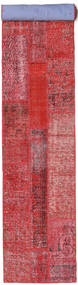 Patchwork Rug 80X504 Authentic  Modern Handknotted Hallway Runner  Rust Red/Pink (Wool, Turkey)