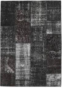 Patchwork Matto 161X227 Moderni Käsinsolmittu Musta/Tummanharmaa (Villa, Turkki)