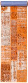 Patchwork Vloerkleed 81X395 Echt Modern Handgeknoopt Tapijtloper Oranje/Lichtbruin (Wol, Turkije)