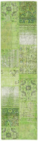 Patchwork Rug 80X302 Authentic  Modern Handknotted Hallway Runner  Light Green/Dark Green (Wool, Turkey)