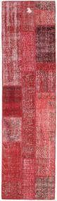 Patchwork Matto 81X300 Moderni Käsinsolmittu Käytävämatto Tummanpunainen/Punainen (Villa, Turkki)