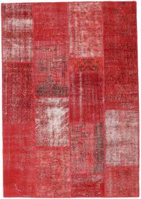 Patchwork Matto 161X231 Moderni Käsinsolmittu Punainen/Tummanpunainen (Villa, Turkki)