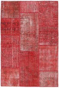Patchwork Matto 122X182 Moderni Käsinsolmittu Tummanpunainen/Ruoste (Villa, Turkki)