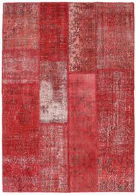 Patchwork Matto 142X204 Moderni Käsinsolmittu Punainen/Ruoste (Villa, Turkki)
