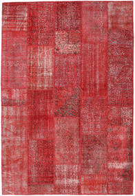 Patchwork Rug 202X299 Authentic  Modern Handknotted Crimson Red/Dark Red/Rust Red (Wool, Turkey)