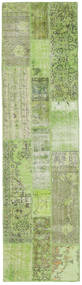 Patchwork Rug 82X303 Authentic  Modern Handknotted Hallway Runner  Light Green/Pastel Green (Wool, Turkey)