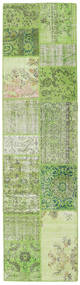 Patchwork Rug 80X303 Authentic  Modern Handknotted Hallway Runner  Light Green/Dark Green (Wool, Turkey)