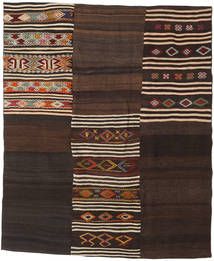 Kilim Patchwork Rug 185X220 Authentic  Modern Handwoven Dark Brown (Wool, Turkey)