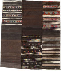 Kilim Patchwork Rug 179X207 Authentic  Modern Handwoven Dark Brown/Light Brown (Wool, Turkey)