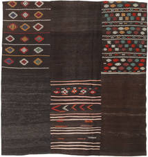 Kilim Patchwork Rug 196X209 Authentic  Modern Handwoven Square Dark Brown (Wool, Turkey)