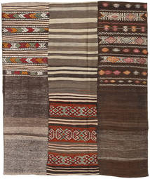 Kilim Patchwork Rug 190X227 Authentic  Modern Handwoven Light Brown/Dark Brown (Wool, Turkey)