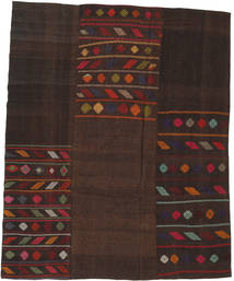 Kilim Patchwork Rug 196X241 Authentic  Modern Handwoven Dark Brown (Wool, Turkey)