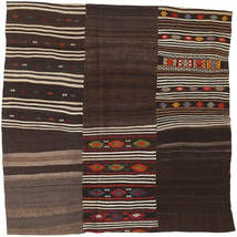 Kilim Patchwork Rug 199X199 Authentic  Modern Handwoven Square Dark Red/Light Brown/Dark Brown (Wool, Turkey)
