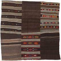Kilim Patchwork Rug 199X199 Authentic  Modern Handwoven Square Dark Red/Light Brown/Dark Brown (Wool, Turkey)