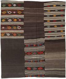 Kilim Patchwork Rug 195X231 Authentic  Modern Handwoven Dark Brown/Light Brown (Wool, Turkey)