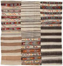 キリム パッチワーク 絨毯 215X228 モダン 手織り 正方形 薄茶色/濃い茶色 (ウール, トルコ)