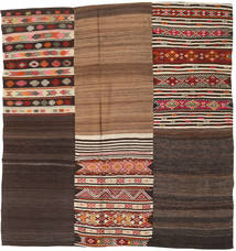 Kilim Patchwork Rug 216X230 Authentic  Modern Handwoven Square Dark Brown/Light Brown (Wool, Turkey)