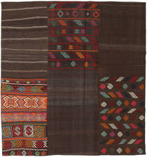 Kilim Patchwork Rug 206X217 Authentic  Modern Handwoven Square Dark Brown (Wool, Turkey)