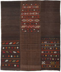 Kilim Patchwork Rug 214X254 Authentic  Modern Handwoven Dark Brown (Wool, Turkey)