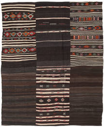 Kilim Patchwork Rug 193X238 Authentic  Modern Handwoven Dark Brown/Light Grey (Wool, Turkey)