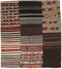 Kilim Patchwork Rug 202X223 Authentic  Modern Handwoven Dark Brown/Light Brown (Wool, Turkey)