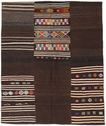 Kilim Patchwork Rug 188X229 Authentic  Modern Handwoven Dark Brown (Wool, Turkey)