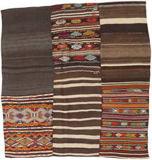 Kilim Patchwork Tappeto 185X197 Moderno Tessuto A Mano Quadrato Marrone Scuro/Grigio Scuro (Lana, Turchia)
