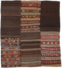 Kilim Patchwork Rug 204X230 Authentic  Modern Handwoven Dark Brown/Dark Red (Wool, Turkey)
