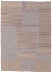 Kilim Modern Rug 126X176 Authentic  Modern Handknotted Light Grey/Light Brown (Wool, India)