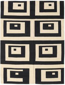 Kilim Moderni Tappeto 154X204 Moderno Fatto A Mano Nero/Beige (Lana, India)