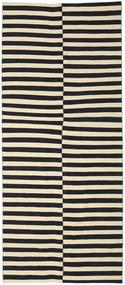 Kilim Modern Rug 160X374 Authentic  Modern Handknotted Hallway Runner  Black/Beige (Wool, India)