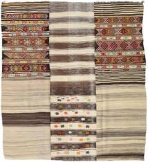 Kilim Patchwork Rug 223X245 Authentic  Modern Handwoven Square Light Brown/Dark Brown (Wool, Turkey)