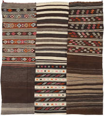 Kilim Patchwork Rug 211X232 Authentic  Modern Handwoven Dark Brown/Beige (Wool, Turkey)