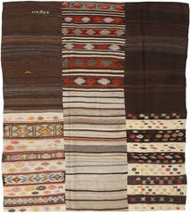 Kilim Patchwork Rug 213X248 Authentic  Modern Handwoven Dark Brown/Light Grey (Wool, Turkey)