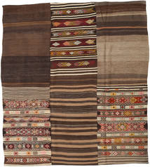 Kilim Patchwork Rug 228X257 Authentic  Modern Handwoven Dark Brown/Dark Red (Wool, Turkey)
