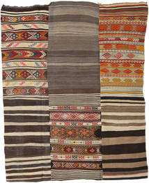 Kilim Patchwork Rug 199X253 Authentic  Modern Handwoven Light Brown/Dark Grey (Wool, Turkey)