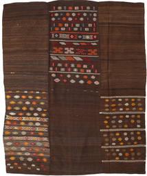Kelim Patchwork Matto 199X248 Moderni Käsinkudottu Tummanruskea/Tummanpunainen (Villa, Turkki)