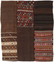 Kilim Patchwork Rug 217X250 Authentic  Modern Handwoven Dark Red/Dark Brown (Wool, Turkey)