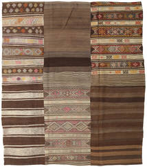 Kilim Patchwork Rug 212X240 Authentic  Modern Handwoven Brown/Dark Brown (Wool, Turkey)