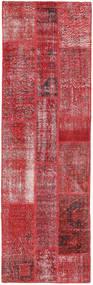 パッチワーク 絨毯 80X257 モダン 手織り 廊下 カーペット 深紅色の/赤 (ウール, トルコ)