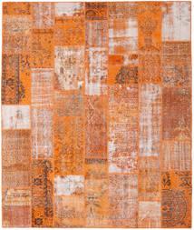 Patchwork Matto 254X301 Moderni Käsinsolmittu Oranssi/Vaaleanruskea/Vaaleanpunainen Isot (Villa, Turkki)