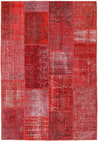 Patchwork Rug 160X230 Authentic  Modern Handknotted Crimson Red/Rust Red (Wool, Turkey)