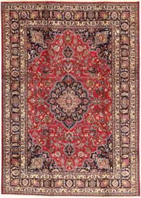 Mashad Matta 195X284 Äkta Orientalisk Handknuten Ljusbrun/Mörkröd (Ull, Persien/Iran)