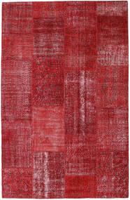 Patchwork Matto 199X309 Moderni Käsinsolmittu Tummanpunainen/Punainen (Villa, Turkki)