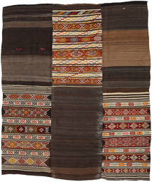 Kelim Patchwork Matto 212X252 Moderni Käsinkudottu Tummanpunainen/Tummanruskea (Villa, Turkki)
