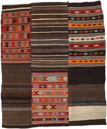 Kilim Patchwork Rug 219X262 Authentic  Modern Handwoven Dark Brown/Light Brown (Wool, Turkey)