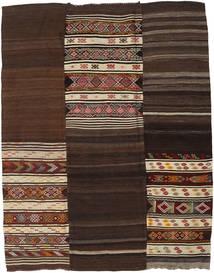 Kelim Patchwork Teppich  229X293 Echter Moderner Handgewebter Dunkelrot/Dunkelbraun/Hellbraun (Wolle, Türkei)